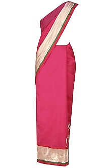 Hot Pink Age Old Radha Krishna Love Songs Hand Painted Saree