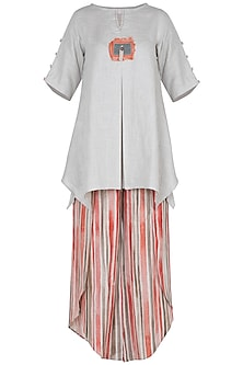 Off white linen top with striped tulip pants