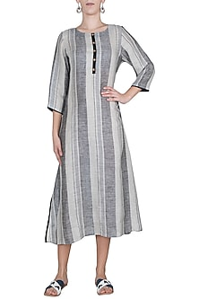 Black and grey striped tunic by Linen and Linens