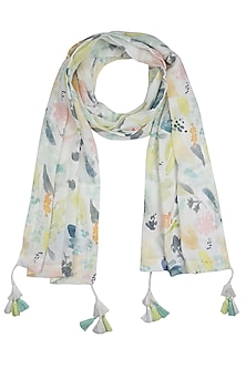 White and lime green printed stole by Linen and Linens