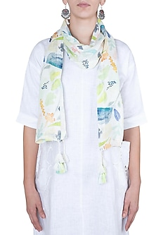 White and lime green printed stole