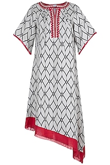 White embroidered printed dress