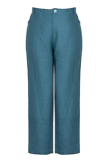 Teal cropped pants by Linen and Linens