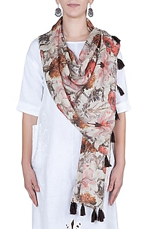 Orange and brown printed stole