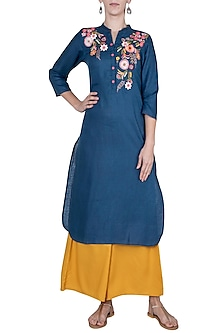 Navy blue embroidered tunic by Linen and Linens