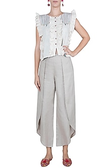 Linen Gray Tulip Pants by Linen and Linens