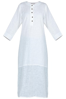 White bleached half and half tunic