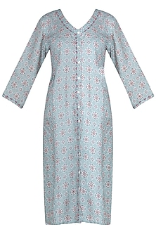Aqua butti printed tunic by Linen and Linens