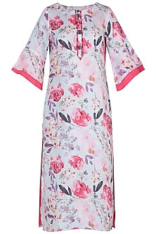 White and pink printed tunic