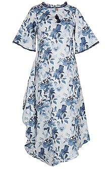 White and blue floral printed dress