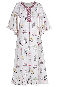 Cream embroidered printed dress