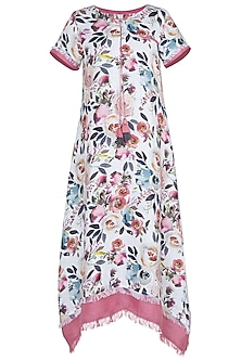 White and purple floral printed dress