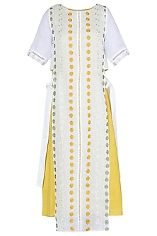 White and mustard polka embroidered dress