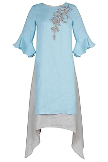 Powder blue embroidered layered dress
