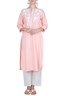 Pink embroidered tunic by Linen and Linens