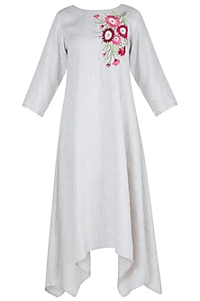 White embroidered asymmetrical dress by Linen and Linens