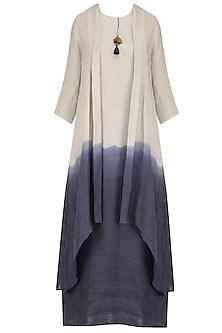 Natural and Blue Half and Half Jacket Dress