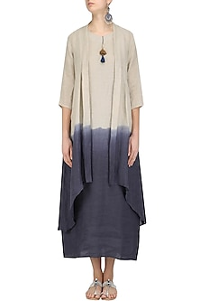 Natural and Blue Half and Half Jacket Dress by Linen and Linens
