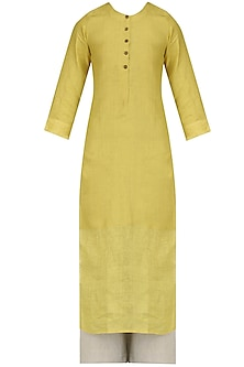 Mustard Yellow Tunic, Pants and Printed Stole Set