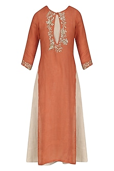 Orange and Beige Sequins Embroidered Dress