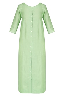 Sage Green Shirt Dress and Printed Stole Set