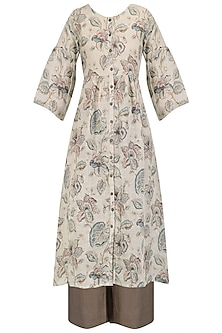 Natural Floral Printed Shirt Dress