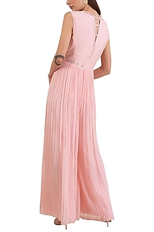 Pink Hand Embroidered Jumpsuit by Limerick By Abirr N' Nanki