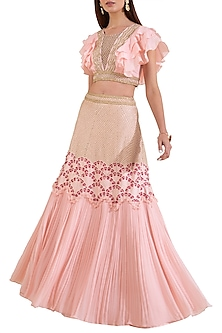 Pink Embroidered Blouse With Skirt by Limerick By Abirr N' Nanki
