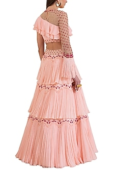 Pink Embroidered Blouse With Layered Skirt by Limerick By Abirr N' Nanki