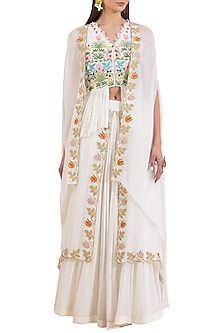Ivory Embroidered Peplum Blouse With Skirt & Cape by Limerick By Abirr N' Nanki