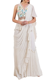 Ivory Embroidered Pre-Draped Peplum Saree by Limerick By Abirr N' Nanki