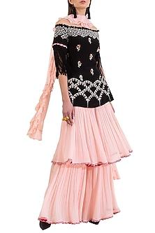 Pink & Black Embroidered Off Shoulder Kurta Set by Limerick By Abirr N' Nanki