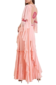 Pink Embroidered Pre-Draped Saree Set by Limerick By Abirr N' Nanki