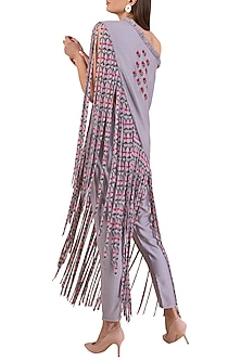 Lilac Embroidered Asymmetric Top With Pants by Limerick By Abirr N' Nanki