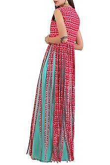 Turquoise Embroidered Pre-Draped Saree With Printed Tassel Jacket by Limerick By Abirr N' Nanki