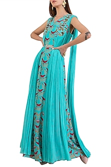 Turquoise Embroidered Printed Draped Dress by Limerick By Abirr N' Nanki