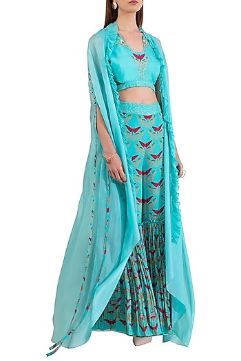 Turquoise Embroidered Blouse With Pants & Cape by Limerick By Abirr N' Nanki