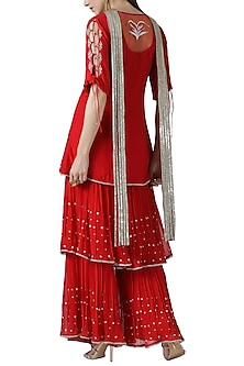 Red embroidered kurta with gharara pants set by Limerick By Abirr N' Nanki