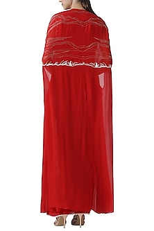 Red embroidered drape saree with cape by Limerick By Abirr N' Nanki