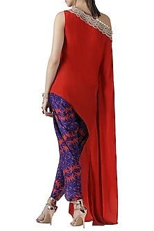 Red embroidered asymmetrical kurta with tulip pants
