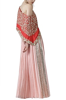 Red embroidered one shoulder kurta with skirt