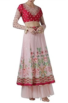 Fuchsia pink embroidered lehenga skirt with blouse by Limerick By Abirr N' Nanki