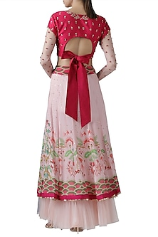 Fuchsia pink embroidered lehenga skirt with blouse