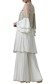 Ivory embroidered blouse with palazzo pants