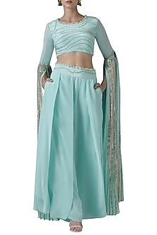 Mint embroidered blouse with palazzo pants by Limerick By Abirr N' Nanki