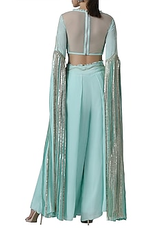 Mint embroidered blouse with palazzo pants