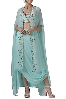 Mint embroidered crop top with skirt and cape by Limerick By Abirr N' Nanki