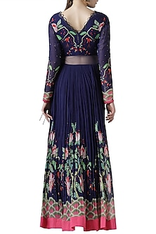 Navy blue embroidered printed gown