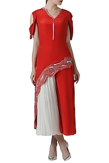 Red embroidered tunic with ivory pants by Limerick By Abirr N' Nanki