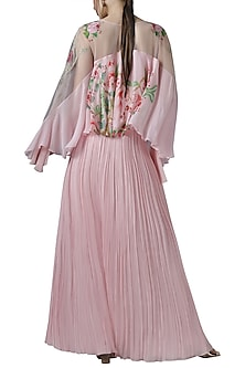 Pink embroidered cape top with skirt